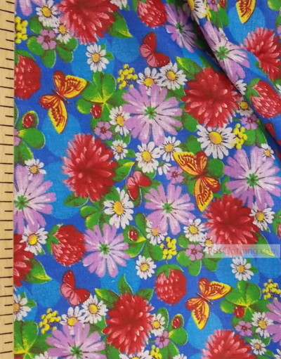 Floral cotton fabric by the yard ''Butterflies On Clover''}