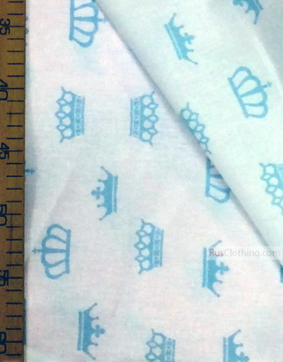 Baby Quilt Fabric by the Yard ''Mint Crowns On White''}