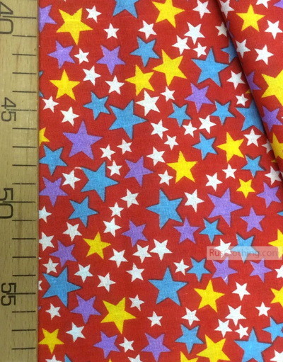 Tissu enfant au metre ''Colored Stars On Red ''}