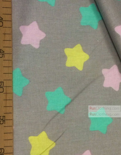 Tissu enfant au metre ''Color Star On Gray (Pink, Yellow, Turquoise)''}