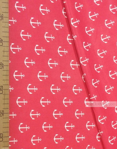 Tissu enfant au metre ''White Anchors On Red''}