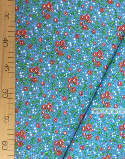 Floral cotton fabric by the yard ''Red, Small Roses On Blue''}