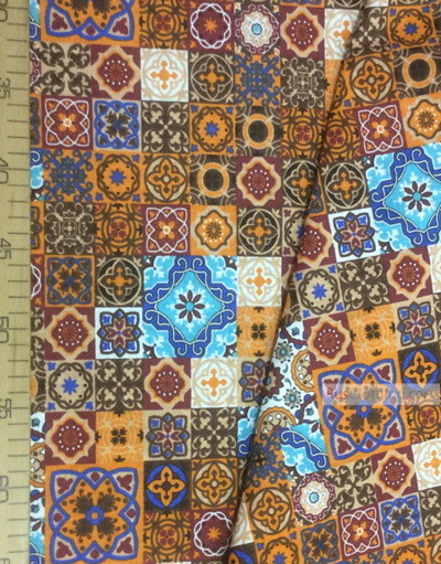 Tissu Folklorique au Metre ''Eastern Mosaic On The Burgundy-Orange''}