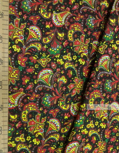 Folk Fabric by the yard ''Oriental Flowers On Black''}