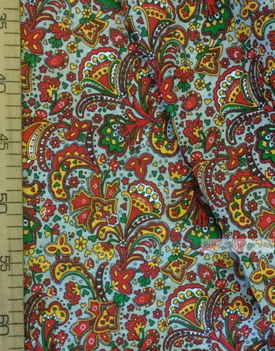Folk Fabric by the yard ''Oriental Flowers On Grey''}