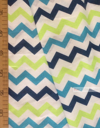 Kids Fabric by the Yard ''Color Zigzag On White ''}