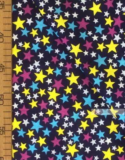 Baby Quilt Fabric by the Yard ''Colored Stars On Dark Blue''}