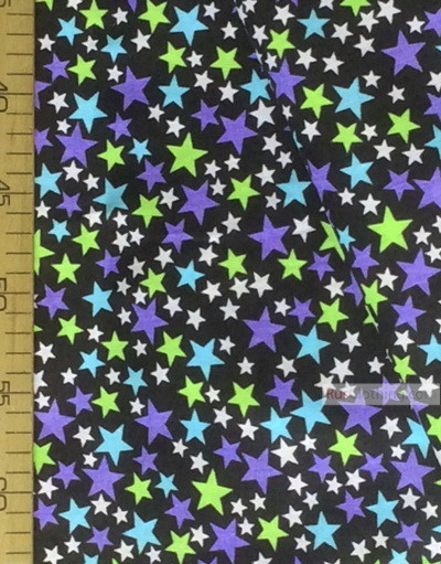 Baby fabric by the Yard ''Color Stars On Black ''}