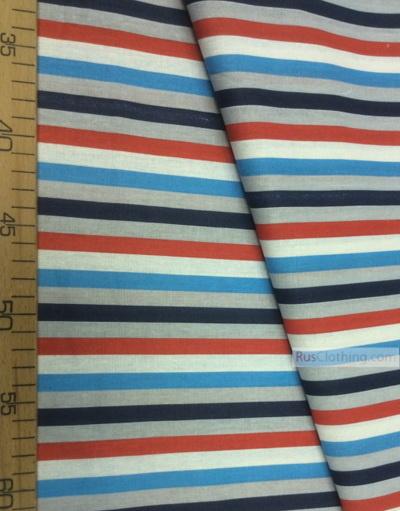 Geometric Print Fabric ''Red-Blue Strip''}