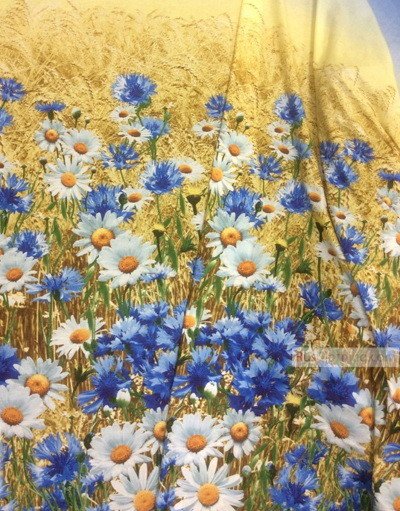 Floral cotton fabric by the yard ''Cornflowers With Daisies In A Wheat Field''}