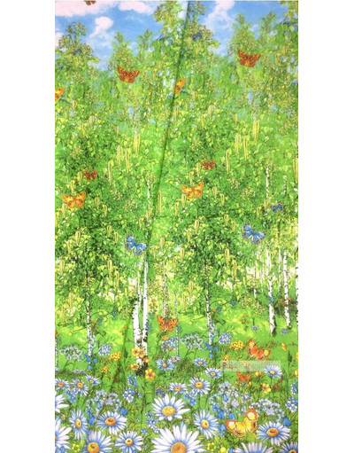 Folk Fabric by the yard ''Birch Grove''}