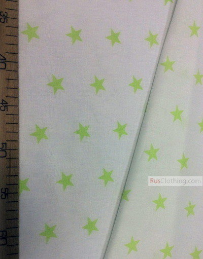 Childrens Fabric by the Yard ''Light Green Star On White''}
