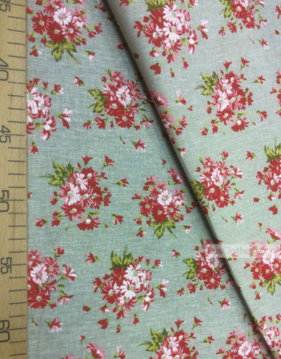 Floral cotton fabric by the yard ''Bouquet Of Red Daisies On Gray''}