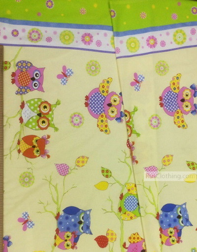 Tissu pour bébé au metre ''Colored Owlets On The Branches, With A Border''}