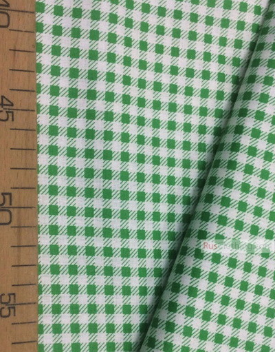 Geometric Print Fabric ''The Green Square On White''}