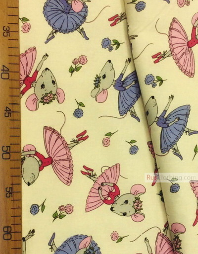 Baby Quilt Fabric by the Yard ''Gray Mouse-Ballerinas On White''}