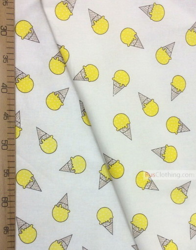 Tissu pour bébé au metre ''Yellow Ice Cream On White''}