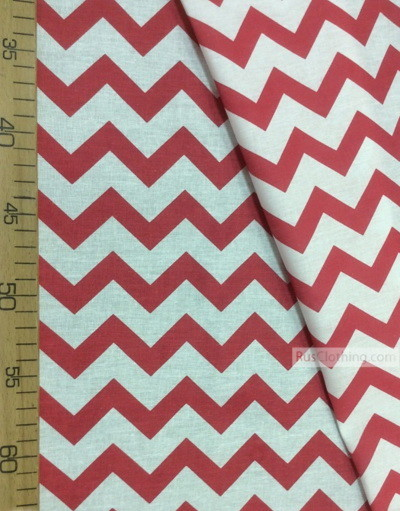 Nursery Print Fabric by the Yard ''White-Red Zigzag''}