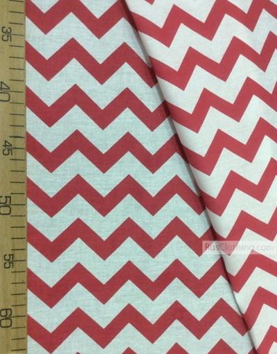 Tissu enfant au metre ''White-Red Zigzag''}