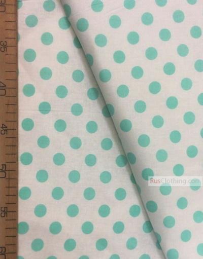 Tissu folklorique au metre ''Medium Mint Polka Dot On White''}