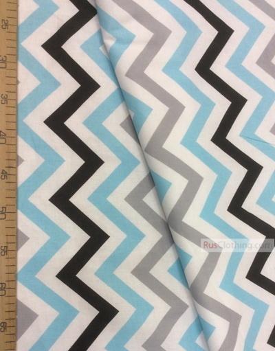 Tissu enfant au metre ''Color Zigzag On White (Gray, Blue, Black)''}