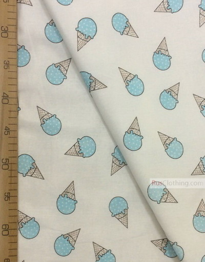 Baby Materials by the Yard ''Turquoise Ice Cream On White''}