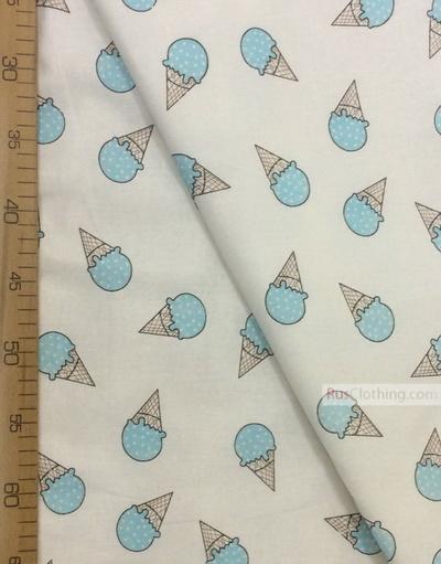 Textile enfant au metre ''Turquoise Ice Cream On White''}