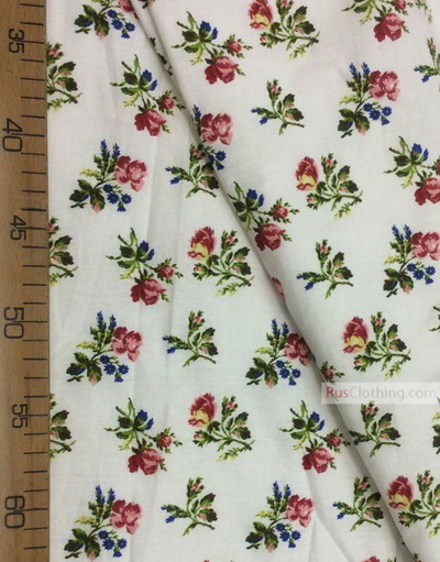 Floral cotton fabric by the yard ''Rose On White''}
