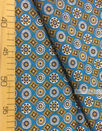Fabric Folk Decorations by the yard ''Mosaic On Blue''}