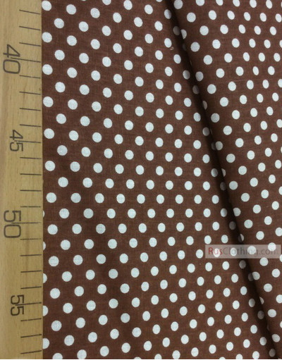 Cotton print fabric by the yard ''Small White Polka Dots On Chocolate''}