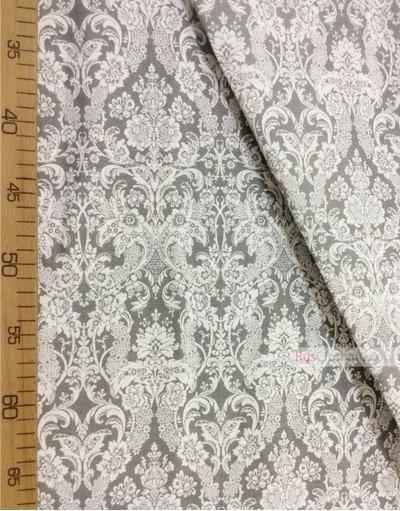 Vintage Fabric Ornament by the yard ''Baroque (White, Grey)''}