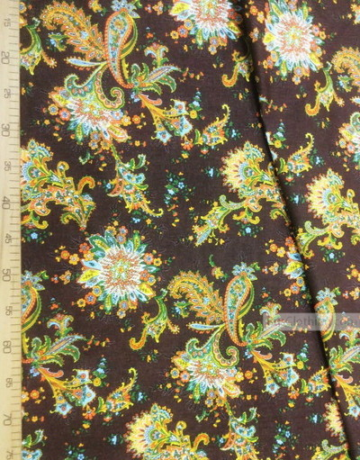 Paisley coton fabric by the yard ''Paisley Orange On Dark Brown''}