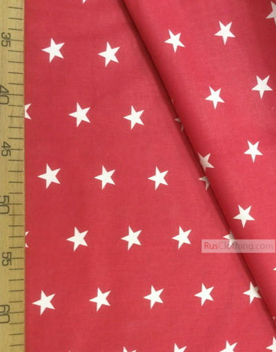 Nursery Fabric by the Yard ''White Star On Red''}