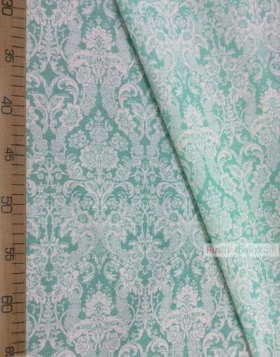 Tissu vintage folklorique au metre ''Baroque (White, Mint)''}