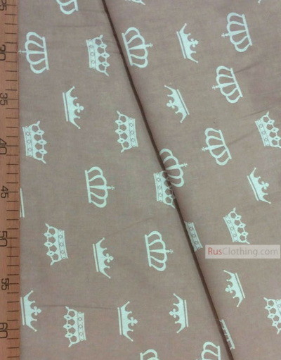 Nursery Print Fabric by the Yard ''White Crowns On The Coffee''}