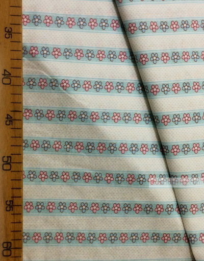 Baby fabric by the Yard ''Blue, Pink Daisies On A Turquoise Strip''}