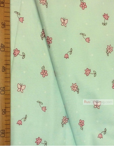 Nursery Fabric by the Yard ''Pink Flowers With Butterflies On A Mint Field''}
