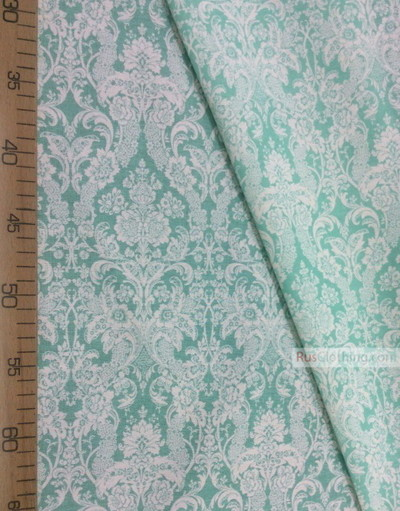 Vintage Fabric Ornament by the yard ''Baroque (White, Mint)''}