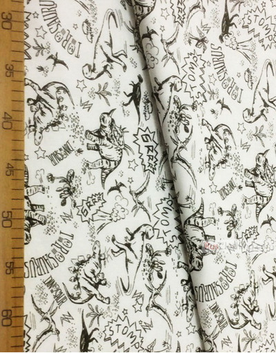 Nursery Fabric by the Yard ''Black Dinosaurs On White''}