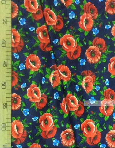 Russian Floral Fabric ''Scarlet Poppies On Blue Field''}