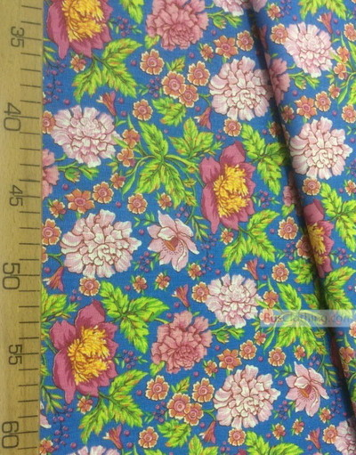Tissu coton fleuri au metre ''Carnation With Peonies On Blue''}