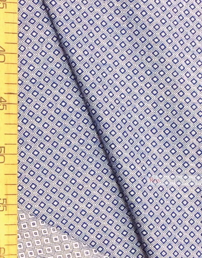 Tissu géométrique au metre''Blue-White Square''}