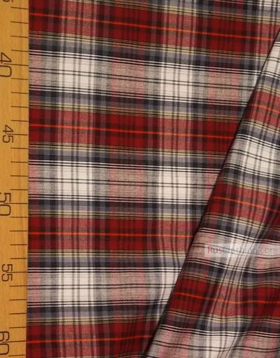 Geometric Print Fabric''Red-Blue Plaid With A Gray Stripe''}