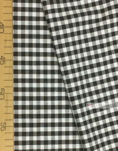 Geometric Print Fabric ''White-Black Plaid''}