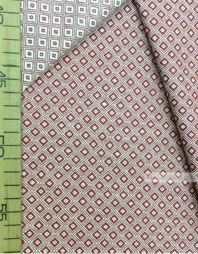 Geometric Print Fabric ''Red And White Square''}