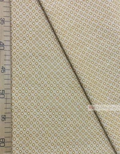 Tissu géométrique au metre''Ochre-White Square''}