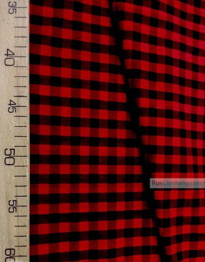 Geometric Print Fabric''Red-Black Plaid''}