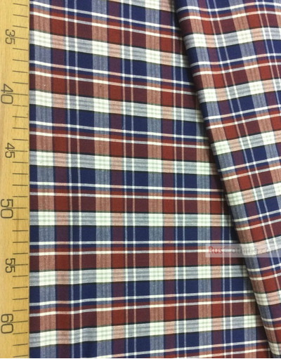 Geometric Print Fabric ''Red-Blue Plaid (Middle)''}