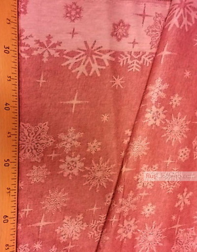 Vintage Fabric Ornament by the yard ''Red Snowflakes''}