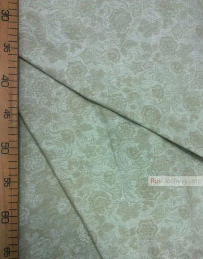 Tissu vintage folklorique au metre ''Flowers On Beige Field''}